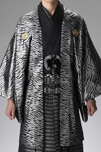 ゼブラ男紋付袴 黒/銀