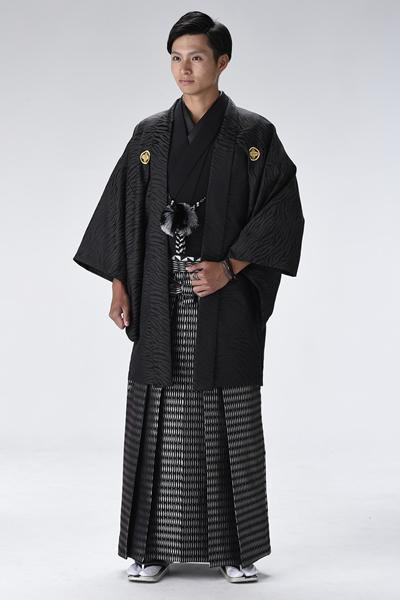 ゼブラ男紋付袴 黒