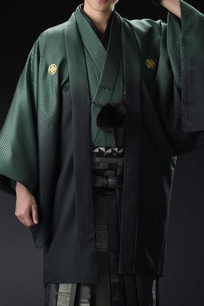 Newボカシ男紋付 緑