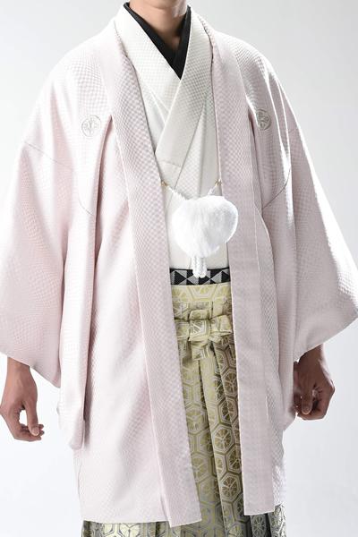 市松ラメ男紋付袴 ピンク