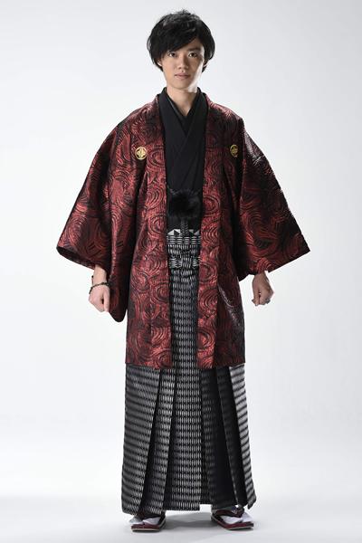 ウェーブ男紋付袴 赤