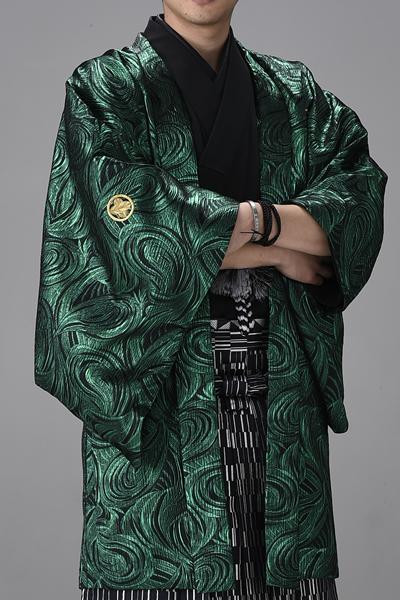 ウェーブ男紋付 緑