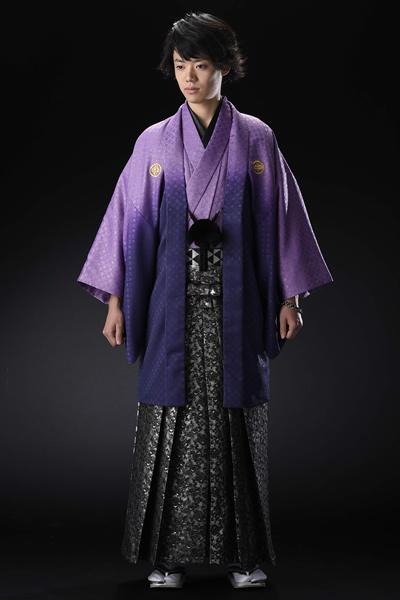 七宝ラメ暈し男紋付 紫