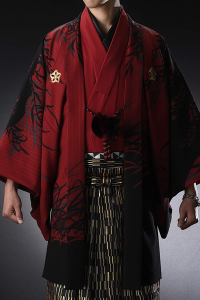 虎友禅絵羽男紋付 青虎