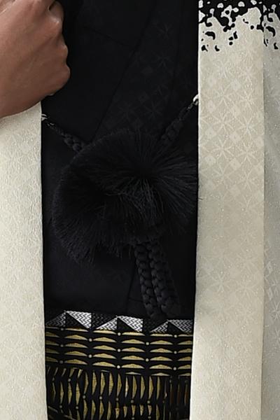 染分け男紋付 黒/アイボリーホワイト