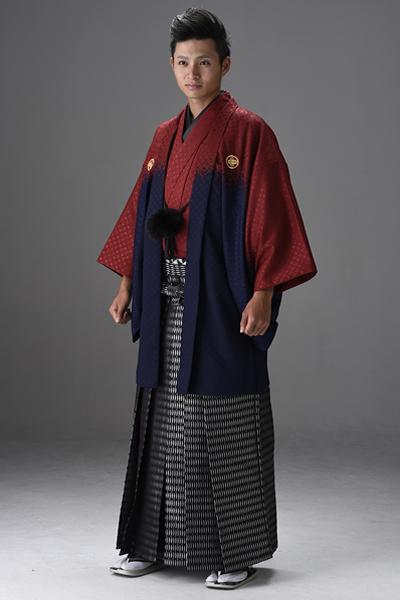 染分け男紋付 赤/紺