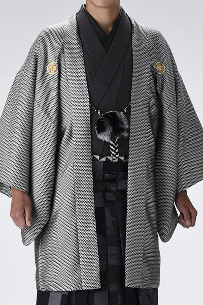 スケイル男紋付 銀/黒