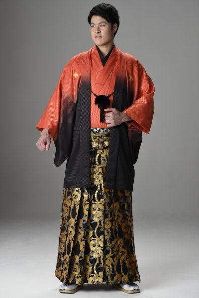 Newボカシ男紋付 オレンジ