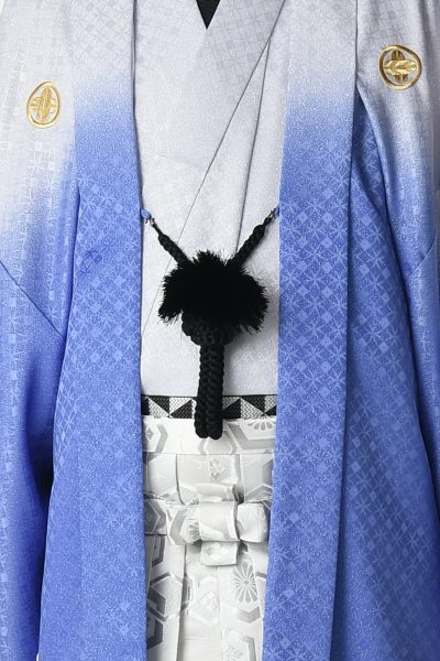 七宝ラメ暈し男紋付 青紫