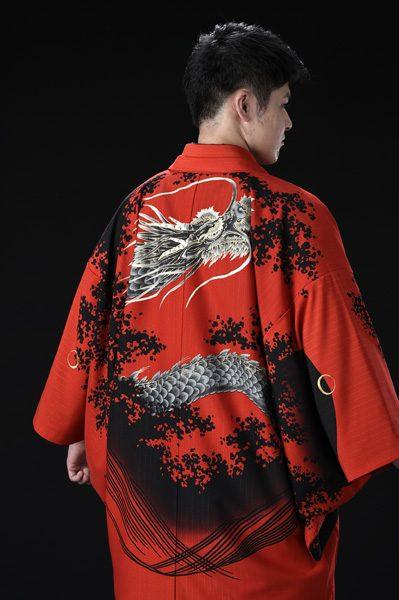 龍友禅絵羽紋付 黒龍