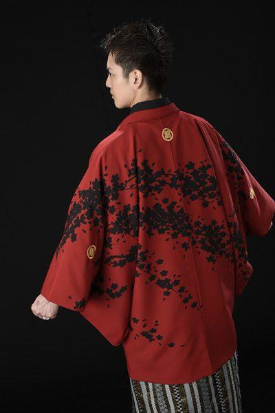 桜吹雪友禅男紋付 赤