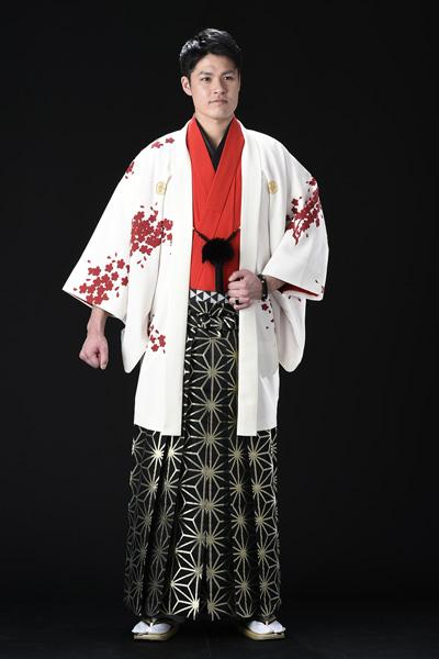 桜吹雪友禅男紋付 白/黒桜